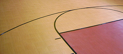 faux wood basketball court tiles